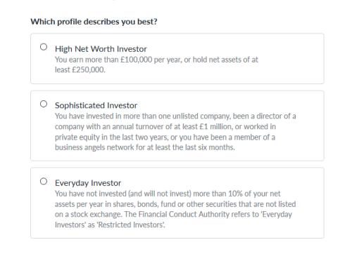 Choose an investor profile