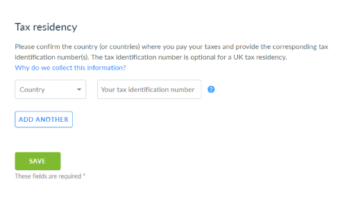 Add your tax residency